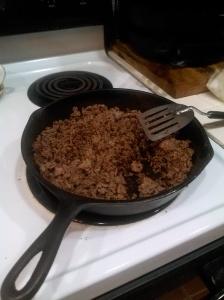 meat in skillet